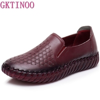 GKTINOO Summer Hollow Out Handmade Shoes Woman Genuine Leather Soft Bottom Comfortable Breathable Flat Casual Leather Shoes Flat