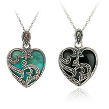 New Statement Necklace 2 Color Silver Plated Marcasite Blue Black Stone Heart Pendant Necklace Metal Chain Necklaces Jewelry