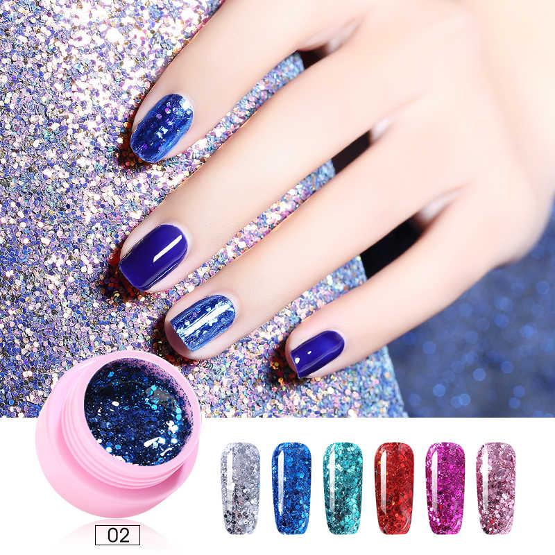 ROHWXY 1 กล่องเล็บเจล Polish Manicure 100 สี UV เจล Lacquer สำหรับเล็บ Art Glitter Effect GEL เคลือบเงา TOP และ BASE Coat
