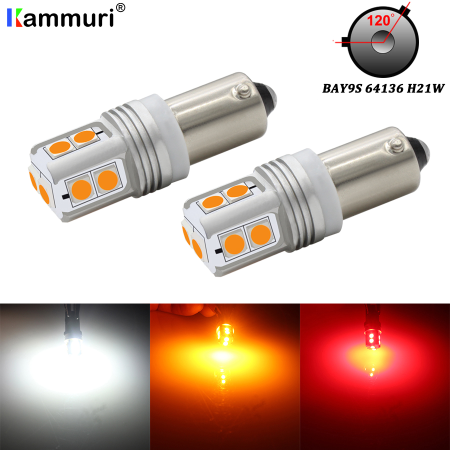 (2) Canbus Error Free H21W BAY9s LED Replacement Bulbs For Position Parking Lights Or Backup Reversing Brake Turn Signal Lights
