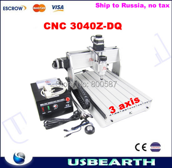 CNC Router CNC 3040Z-DQ,ball screw engraving machine,CNC 3040, Freeshipping to Russia, NO TAX! cnc 3040z dq 3 aixs with ball screw engraving machine