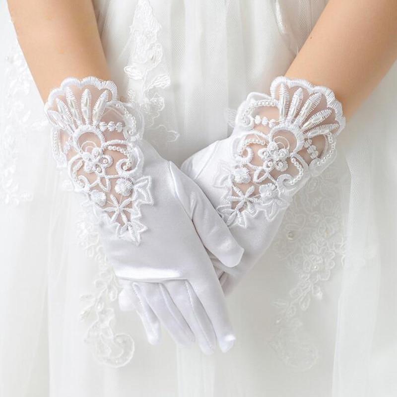 Kids Gift White Elastic Mesh Cloth Girls Party Formal Etiquette Gloves Pearl Short Lace Bow Children Princess Dance Gloves G79
