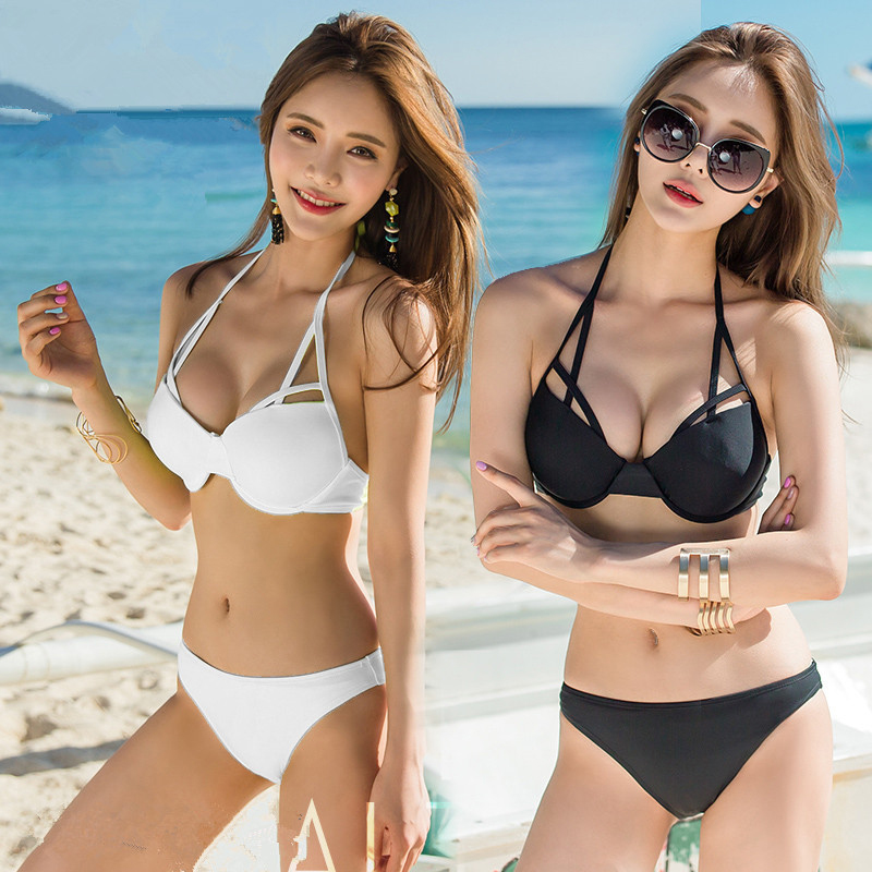 2017 Korean style triangular sexy black and white  female swimsuit bikini set steel towers gathered size chest hot spring swimsu