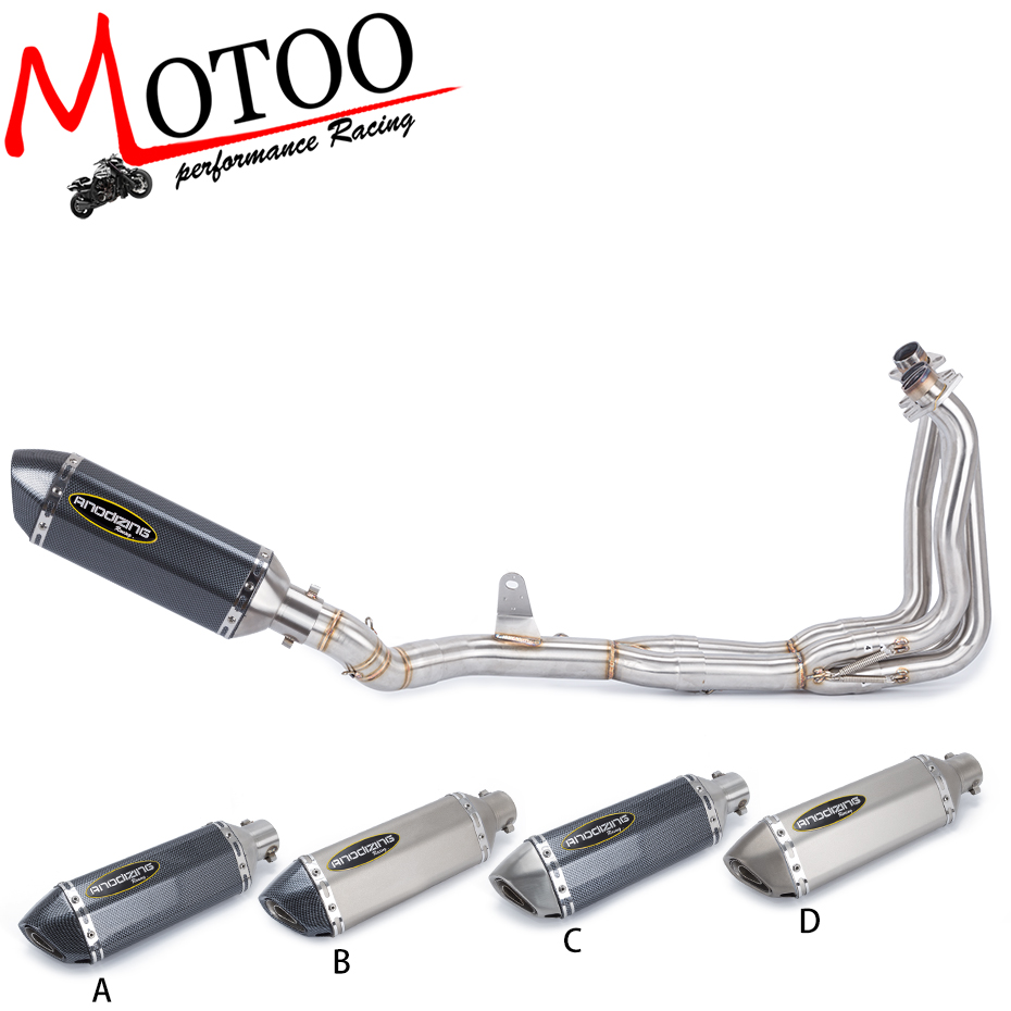Slip On 51MM Full System Motorcycle Muffler Exhaust Escape Set with Front Middle Link Pipe For KAWASAKI Z900 Z 900 2017 2018-in Exhaust & Exhaust Systems from Automobiles & Motorcycles    1