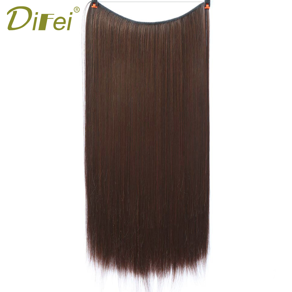 DIFEI Invisible Wire Synthetic 22 Inch Long Straight/Wavy No Clips in Hair Extensions Heat Resistant Hair Extensions