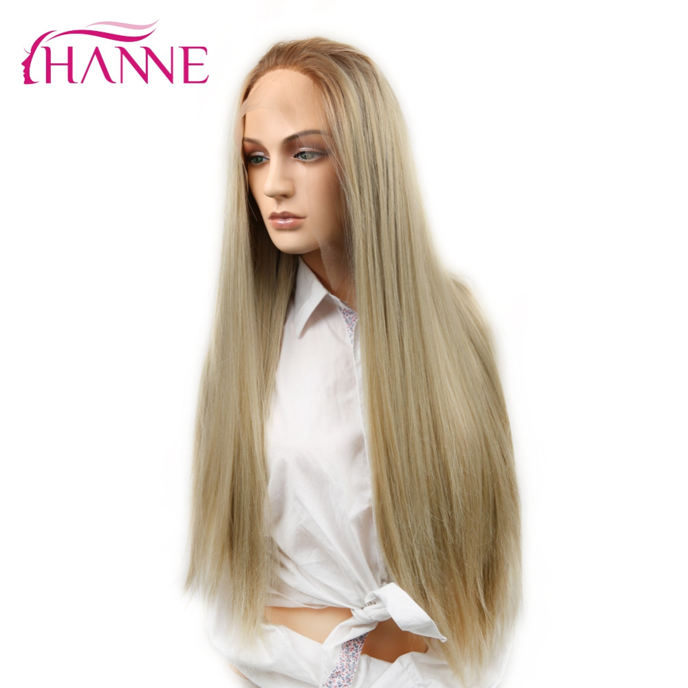 HANNE Swiss Lace Front Wig Long Straight Ash Blonde Ombre Synthetic Wigs For Black Or White Women Halloween Cosplay Or Party Wig(China)