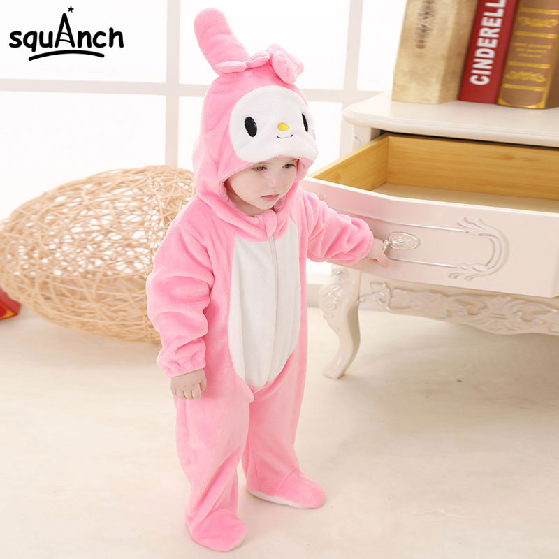 Pink Rabbit Kigurumi Infant Bodysuit Animal Cosplay Costume Child Sleep Pajama Onesie Flannel Warm Soft Long Sleeve With Hooded