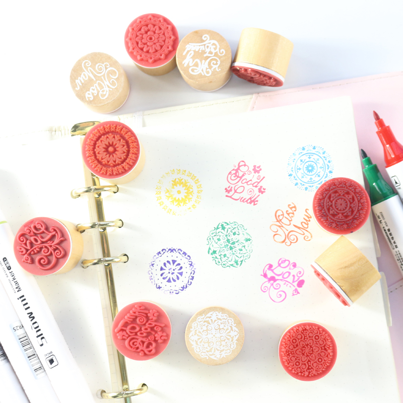 Domikee New Cute Multi Wood Decorative Stamp For Diary Planner Notebooks Stationery,fine DIY Seal Stamps For Craft Working/draws