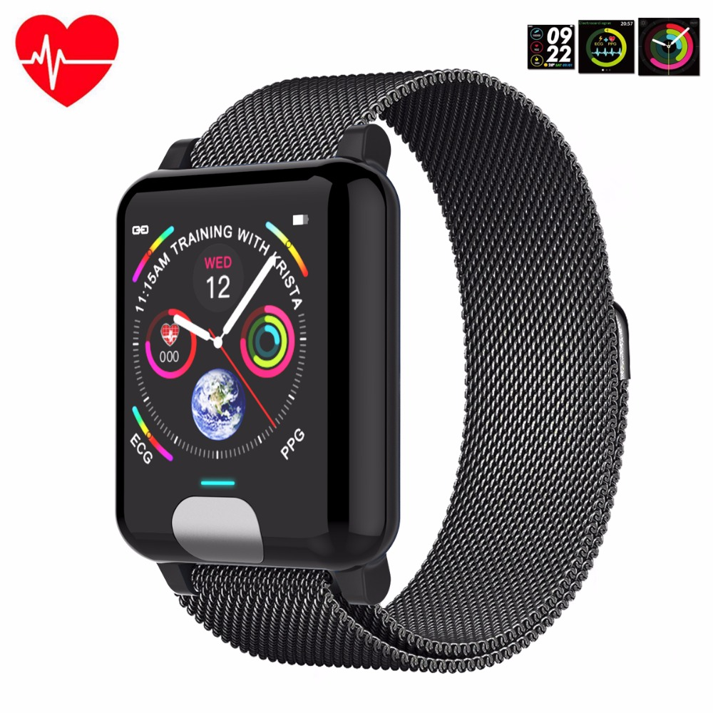E04 3D Dynamic UI blood pressure wrist band heart rate monitor PPG ECG smart bracelet fitness tracker intelligent wristband