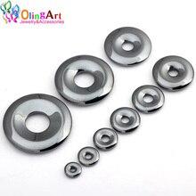 OlingArt 10/12/15/18/20/25/29/35/40MM Natural Stone Black Hematite Donut Coin Round Necklace Bracelet Earring DIY Jewelry Making