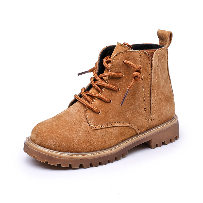 Image 4 - Winter Boys Girls Boots Genuine Leather Anti suede Martin Boots Side Zipper Retro Warm Cotton Boots-in Boots from Mother & Kids
