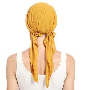 Image 4 - Phụ Nữ Hồi Giáo Căng Chắc Chắn Nhăn Băng Đô Cài Tóc Turban Gọng Mũ Ung Thư Hóa Trị Beanies Mũ Trước Buộc Khăn Mũ Headwrap Mạ Phụ Kiện Tóc