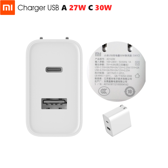 Original Xiaomi USB Charger 1A1C 30W Max Smart Output PD 2.0 QC 3.0 Quick Charging Type C 5V=3A 9V=3A 15V=2A 12V=2.25A Type A