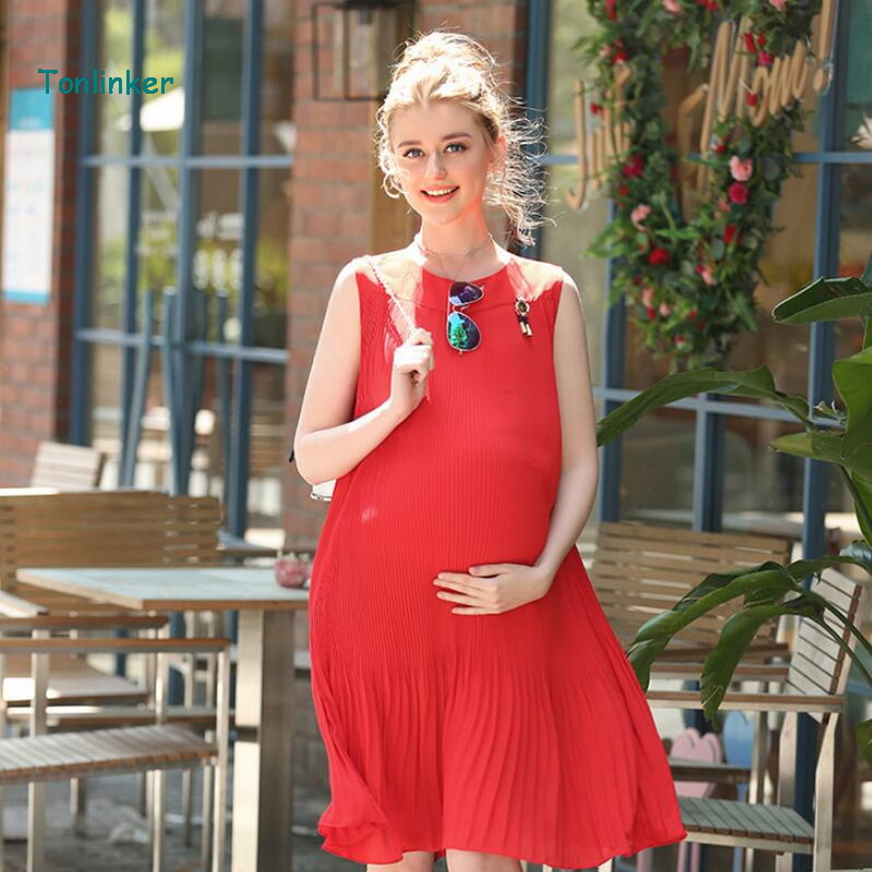 Tonlinker maternity summer dress casual pleated pregnant women clothing Evening party dress photography props summer beach dress