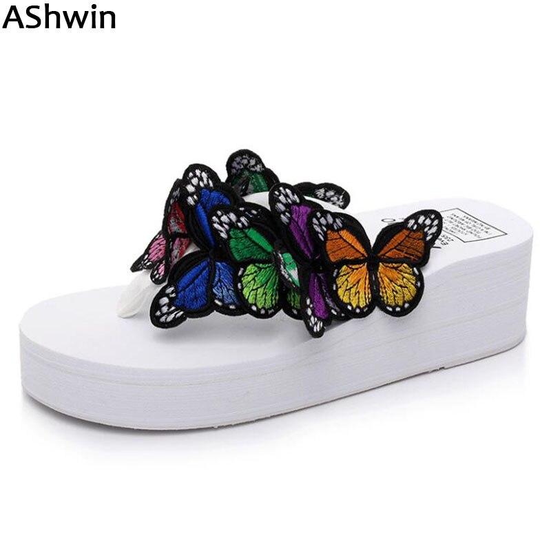 AShwin butterfly wedge platform sandals woman shoes flip flops summer casual thong slippers fancy shoes hawaiian sandal seaside