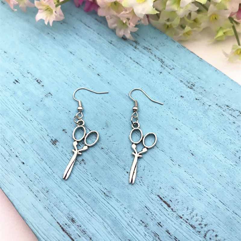 Hot Scissor Dangling Earring Zinc Alloy Antique Silver DIY Fashion Women Girl Hairdresser Shears Jewelry Valentine 39 s Day Present in Drop Earrings from Jewelry amp Accessories