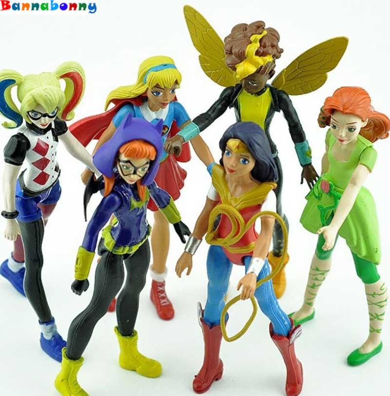 6PCS/Set Super Hero Girls Poison Ivy Bee Harley Quinn Wonder Woman Action Figure Doll Toy 15cm batman arkham poison ivy