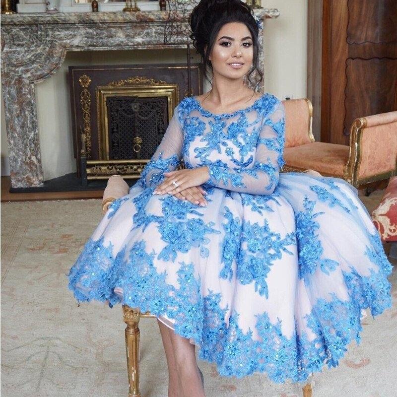 Pu O De cou Formelle Manches Thé Vintage Abendkleider Lady Pleine Ciel Puffy Cristal Soirée Longueur Robes Arabe Dentelle Appliqes Arabie 6IUppqO
