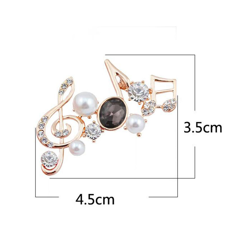 Grace Jun(TM) 3 Colors Rhinestone Crystal Music Note Brooches for Women Fashion Corsages Hijab Pins Scarf Clip Hot Sale Brooches