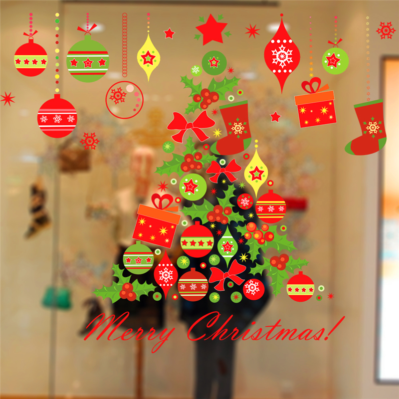 Merry Christmas Tree Bells Wall Stickers Home Decor Stue Store Window - Indretning af hjemmet - Foto 4