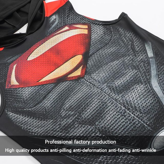 Superhero 3D printing bodybuilding stringer tank top men High elasticity fitness vest muscle guys sleeveless hoodies vest 4