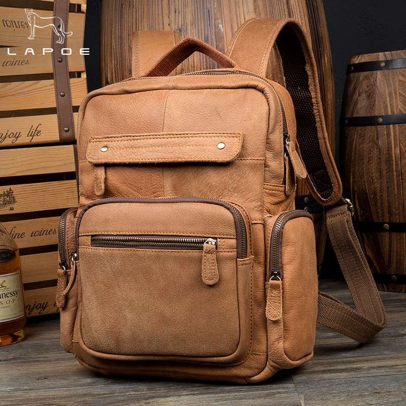 LAPOE Vintage Casual Genuine Leather Cowhide Men Women Male Large Capacity Travel Backpack Shoulder Bag Bags Backpacks For Man men s genuine leather double shoulder backpacks real cowhide leather backpack for men brand bags man multi fuctional bag
