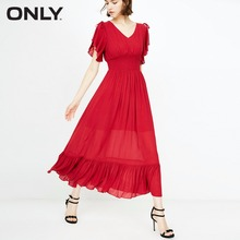 ONLY Ruffled edge elastic waist dress female |118307558