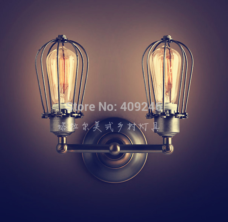ФОТО VERTICAL Double Cage RH LOFT RARE Vintage Industrial Edison Wall Mirror Lamp With E27 bulb Light Black Paint Rust AC110V or 220V