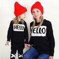 Ins con dinero bebés y las muchachas HOLA suéter cabeza suéteres carta estilo Occidental joker filial hija madre
