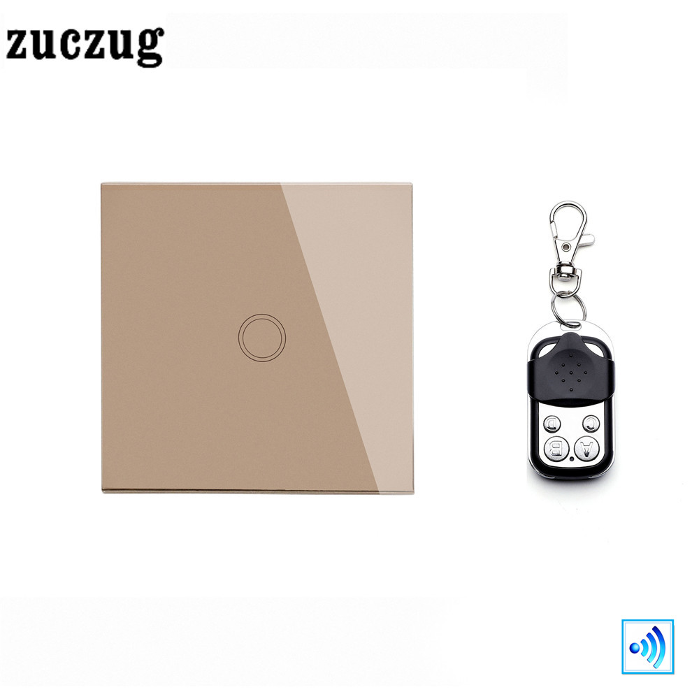 Zuczug EU/UK Luxury smart home 1 Gang 1 Way remote control light switch, Gold Crystal Glass Touch Switch with Mini remote smart home uk 1 gang 1 way crystal glass panel smart remote switch 220v touch screen light switch remote switch with controller