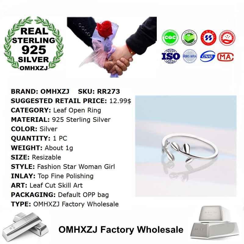 OMHXZJ ขายส่งยุโรปแฟชั่นผู้หญิงสาวงานแต่งงานของขวัญเงินใบเปิด 925 เงินสเตอร์ลิงแหวน RR273