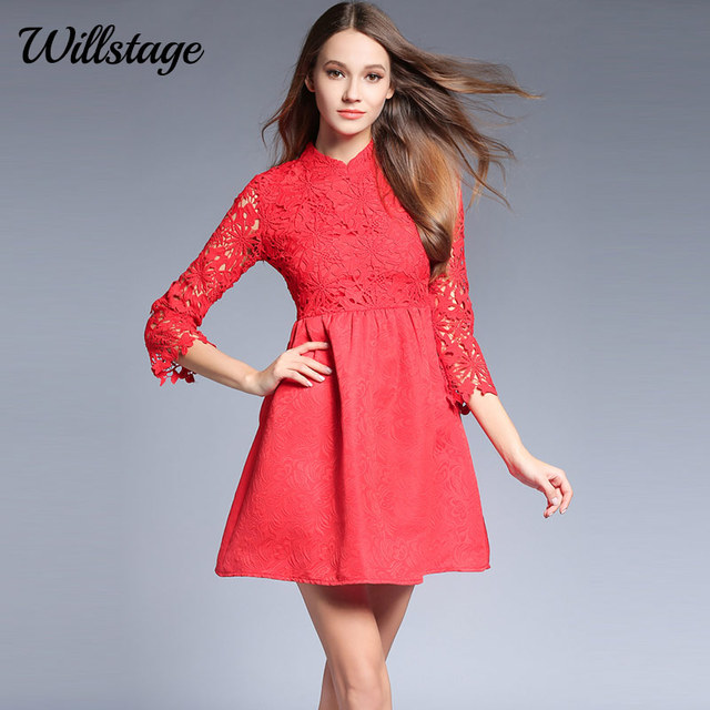 Willstage Red Lace Dresses Women Floral Printed Empire Mini Dress Party  Elegant Vestidos Mesh New 2018 Spring Clothing Female 39beb8b85963