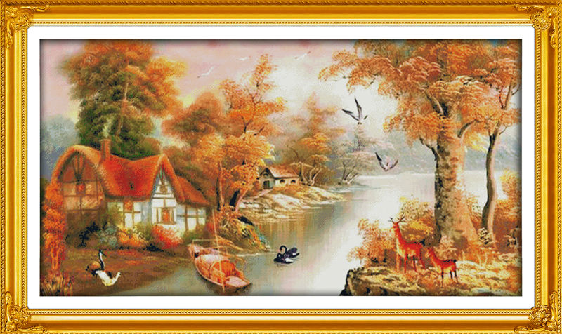 With mountain and river Printed on Canvas DMC Counted Chinese Cross Stitch Kits printed Cross-stitch set Embroidery Needlework
