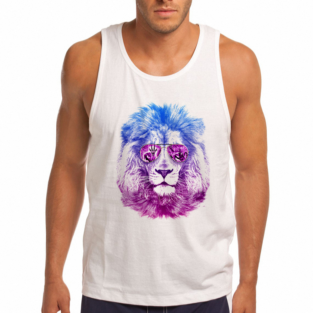 Street Fashion Funny Fitness   Tank     Top   Men Designer Mr. Lion Print Men Vest Mens   Tank   Summer White Sleeveless Shirt
