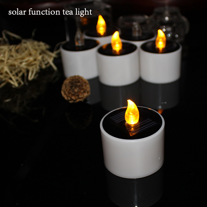Set Of 6 Yellow Solar Led Candles Flameless Electronic Tea Lights Lamp Plastic Energy Candle For Outdoor In From Home Garden