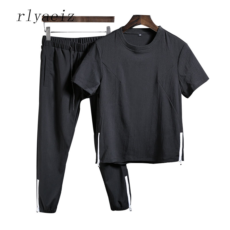 Rlyaeiz 2018 Summer Casual Sporting Suits Men Tracksuit Sets Cotton Linen Comfortable T Shirts + Calf-length Pants Sweat Suit