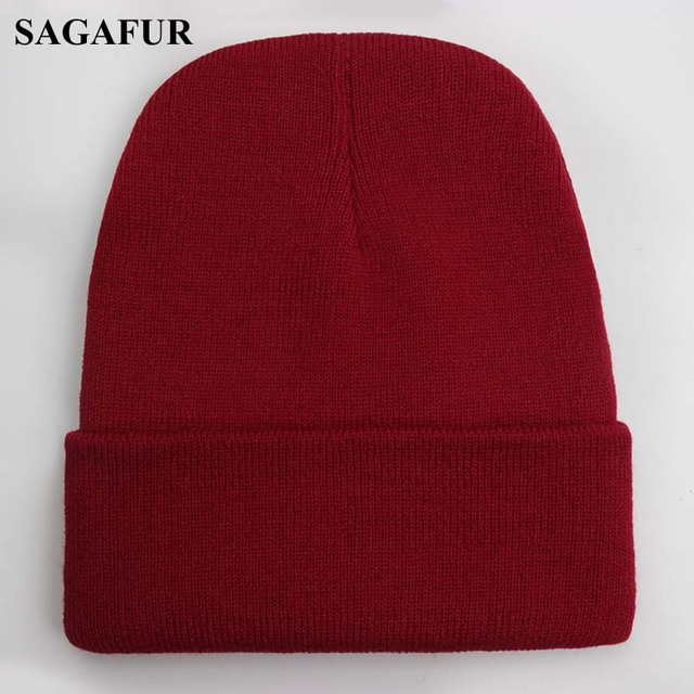 Solid Beanie Wool Blends Soft Warm Knitted Cap 4