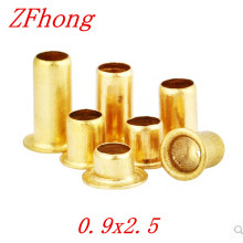 1000pcs M0.9*2.5 Brass copper Hollow Rivet 0.9mm Brand Double-sided Circuit Board PCB vias nails / Brass copper Corns