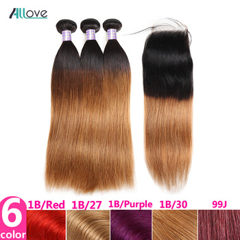 Allove Ombre Bundles with Closure Ombre Straight Hair Bundles with Closure Malaysian Human Hair Bundles with Closure Non Remy