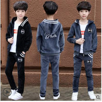 Boy's Spring Sportswear 2018 New 8 Spring 9 Boys 12 gold velvet big children 10 two sets of 15 years old Long Sleeve + Pants