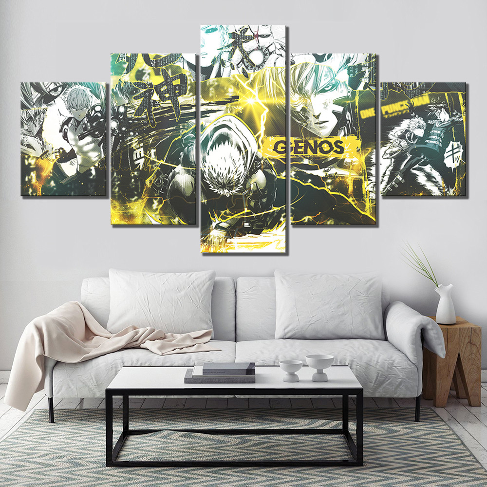 5 Piece HD Cartoon Drawing Art ONE PUNCH MAN Genos Anime Poster Canvas Oil Painting Wall Art for Home Decor 2