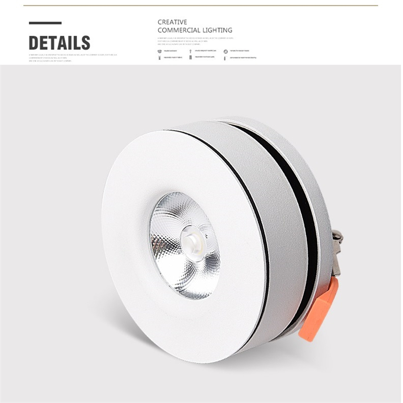 85 265Vac 5W 12W ultra slim CREE LED embedded down lamp ,Foldable and 360 degree rotatable COB plasterboard  accent spot light-in Ceiling Lights from Lights & Lighting    1