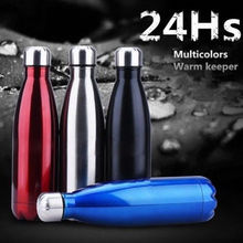 Portable Stainless Steel Vacuum Insulated Water Bottle Leak-proof Double Wall Thermos Hot/Cold 500ML Outdoor Travel