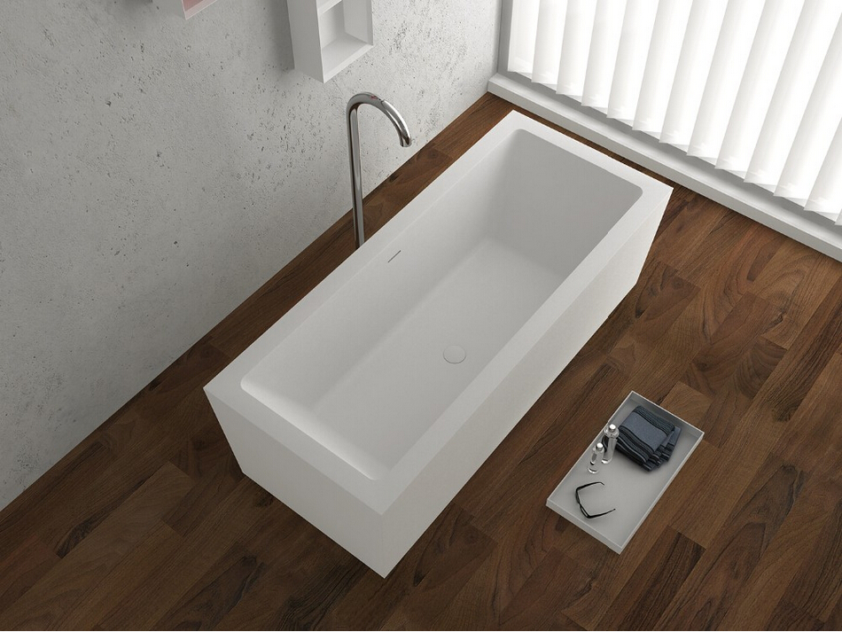 Charming 1830x800x580mm Solid Surface Stone CUPC Approval Bathtub Rectangular  Freestanding Corian Matt White Finishing Tub RS65120(