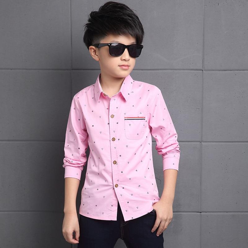 New 2016 Children Boys Shirts Cotton Square Collar Long