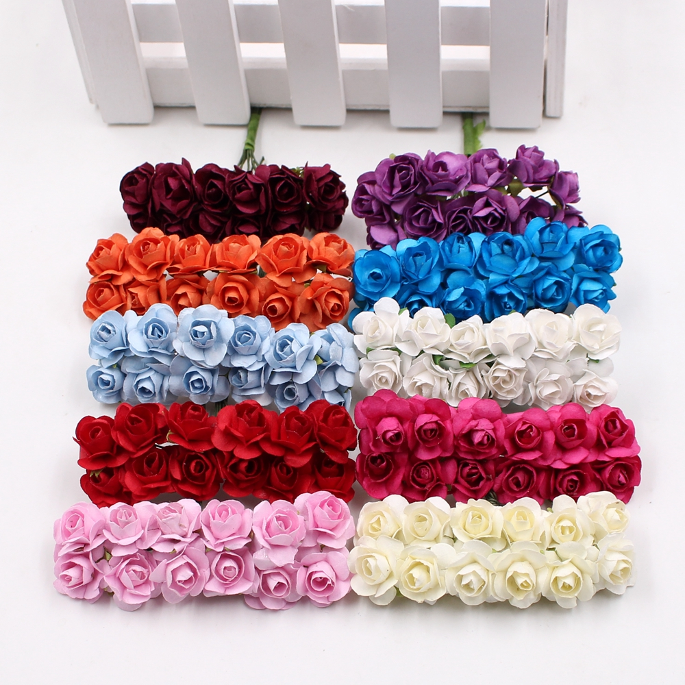 12pcs/lot Artificial Flower Mini Cute Paper Rose Handmade For Wedding Decoration DIY Wreath Gift Scrapbooking Craft Fake Flower(China)