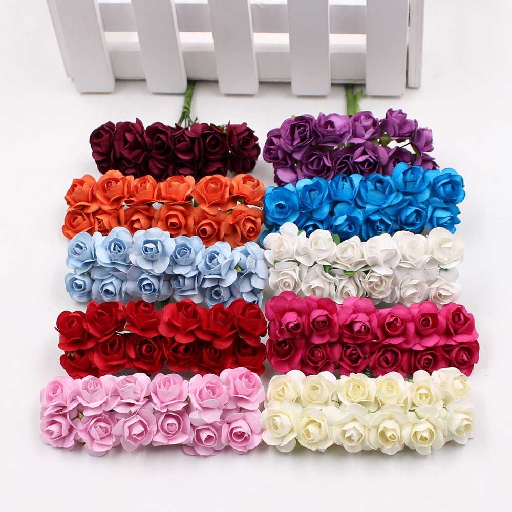 12pcs/lot Artificial Flower Mini Cute Paper Rose Handmade For Wedding Decoration DIY Wreath Gift Scrapbooking Craft Fake Flower
