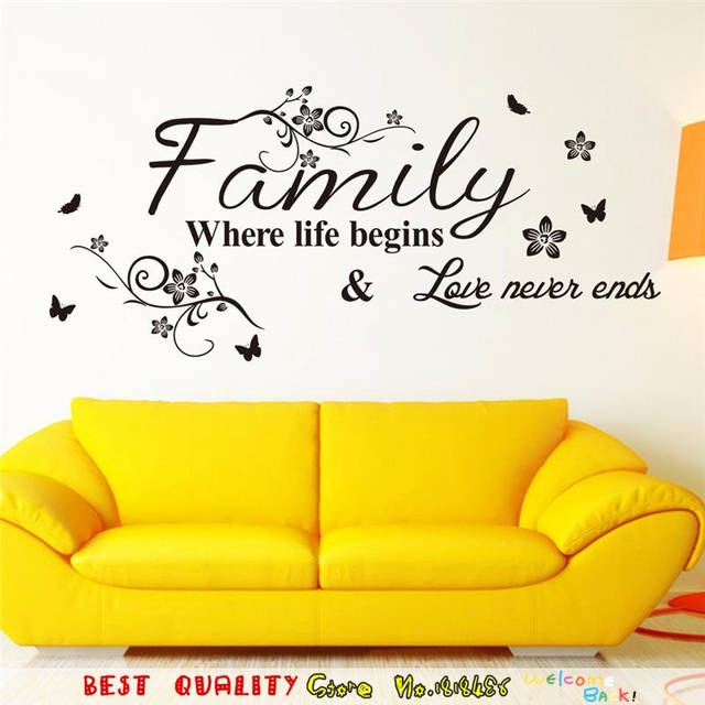 Happy Family Letter Designs wall stickers Home decorations Living ...