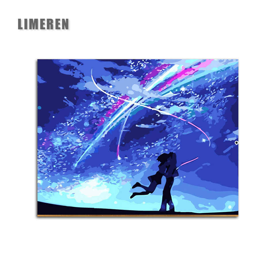 DIY Oil Painting Japan Anime Kimi No Na Wa Coloring By Number Modular Painting Digital Paint By Numbers For Unique Gift