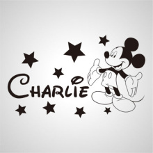 YOYOYU Wall Sticker Mickey Mouse Name Custom Kids Decal Personalised Star Children Interior Mural Removable ZX086